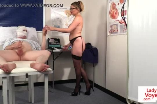Busty nurse instructing her patient