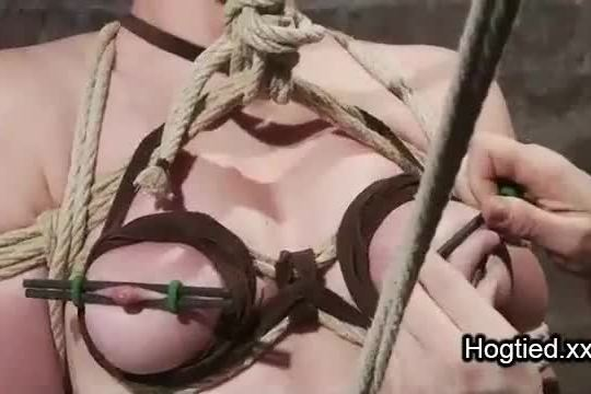 Rope bondage redhead gets punished