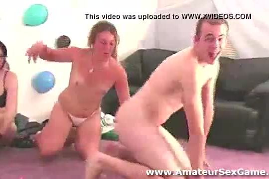 Group of real amateurs getting naked in party game